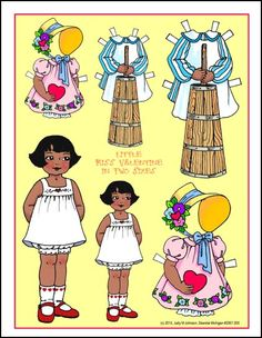 Little Miss Valentine, (ethnic) in 2 Sizes - black / African-American / person of color little girl paper doll African American Dolls, Black African American, Vintage Playmates, Person Of Color, Vintage Paper Dolls, Retro Toys, Black Paper, Art Pages, Little Girls