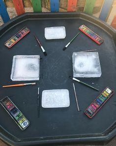 Today's tuff tray - ice painting ❄️🎨 #tufftrayideas #eyfsideas #eyfsteacher #eyfs #eyfsclassroom