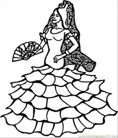 Spanish Dancer coloring page - Free Printable Coloring Pages