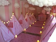 Princess tent slumber party                              …like the cloud balloons