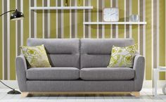 This modern grey Alstons Cortina sofa would look great against a white wall with colourful cushions. http://www.lukehurst.co.uk/