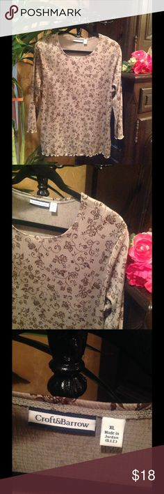 Long Sleeve Top by Croft&Barrow This long-Sleeve Top is a gray-green print with brown floral designs. Wrists and hemline awe ruffled with edge stitching. 98% polyester & 2% spandex. Comfy & a classic! 💞 croft & barrow Tops