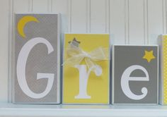Yellow Gray Custom Name Wood Blocks, Personalized Wood Blocks, Grey, Letter Blocks, Kid Name Stars and Moon bedroom Nursery Gift Decor