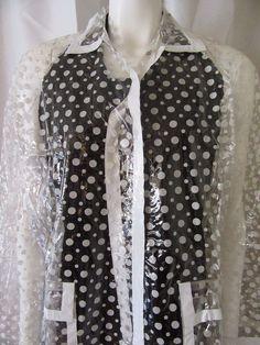 #Vintag ClearPlasticRaincoat Polka Dots #RainSmart #Outdoor
