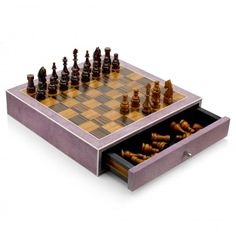 Ginger Brown - Purple Shagreen Chess Set | Gift Library