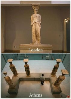 every time I go to the national acropolis museum in the capital of my country,Athens ,and I'm standing in front of statues of the Caryatids fell a little bad, you know, because they had to be six and there are only five . Ancient Greek Art, Ancient Greece, Greek History, Ancient History, Greek Culture, Best Funny Pictures, Archaeology, Les Oeuvres, Beautiful Places