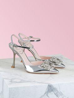 Roger Vivier, Pump Sneakers, Rhinestone Shoes, Jeweled Sandals, Silver Pumps, Hand Applique, Slingback Pump, Shoe Size Chart, Luxury Shoes