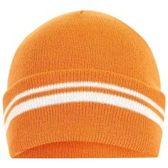 Topshop Sporty Stripe Beanie ($2.60) ❤ liked on Polyvore featuring accessories, hats, orange, acrylic beanie hat, acrylic hat, topshop beanie, beanie hat and orange beanie hat