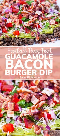 With seven flavorful layers of ground beef, guacamole, lettuce, cheese, tomatoes, onions and bacon. this dip is the perfect football snack recipe for any game day. Make the night before, or right before the big game. #seahawks #footballfood #footballparty #tailgating #superbowlfood #superbowlsnacks #gameday #gamedayfood #gamedaysnacks #footballpartyfood #creamcheese #dip #dips #diprecipes #appetizers #appetizerrecipes #snacks #snackrecipes #chipdip #guacamole #baconrecipes #burgerdip…