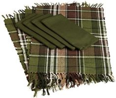 DII Pinecone Lodge Plaid Fringed Placemat and Loden Green Napkins, Set of 8 by DII. $37.63. Coordinates with all dii pinecone lodge items. Linen set includes 4 placemats and 4 napkins. Placemat measures 13 by 19-inch. Napkins measure 20 by 20-Inch. 100-percent cotton. Set of Pinecone linens includes 4 placemats and 4 napkins. Placemats measure 13 by 19-Inch, 100-Percent Cotton and machine washable. Napkins measure 20 by 20-Inch, 100-Percent Cotton and machine washable. Coordina...