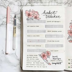Habit Tracker Ideas for Your Bullet Journal Bullet Journal Ideas- Tons of ideas to set up a habit tracker in your bullet journal! Get lots of bullet journal inspiration, including perfect layouts, ideas to track, how to organize your information, tips Bullet Journal Tracker, Bullet Journal Doodles, Planner Bullet Journal, How To Bullet Journal, Bullet Journal Spread, Bullet Journal Inspo, Diary Planner, Bullet Journal With Stickers, Bullet Journal Materials