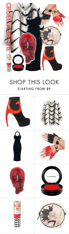 """Cruella De Vil"" by madeline-moses ❤ liked on Polyvore featuring Walter Steiger, Chicwish, STELLA McCARTNEY, Leg Avenue, Andrew Marc, MAC Cosmetics, House of Sillage and Olympia Le-Tan"