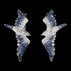 Mousson Atelier earrings Marina 750 White gold, diamonds, sapphires