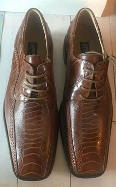c006e03cf74 STACY ADAMS Mens sz 10 Brown Snakeskin Leather Dress Oxford Dress Shoes   fashion  clothing