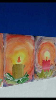 Adventtikynttilä/ fb Alakoulun aarreaitta Christmas Art For Kids, Christmas Art Projects, Winter Art Projects, Xmas Crafts, Art Auction Projects, Third Grade Art, Art Classroom, Art Plastique, Teaching Art