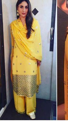 #pintrest@Dixna deol Pakistani Fancy Dresses, Indian Dresses, Indian Outfits, Yellow Punjabi Suit, Yellow Suit, Indian Attire, Indian Wear, Indian Designer Suits, Pakistan Fashion