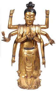 VIETNAM : XVIIIe - XIXe siècle Grande statue de divinité debout