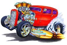 Hot Rod Cartoons Drawings | Details about 1930's Hot Rod Muscle Car Art Cartoon Tshirt FREE