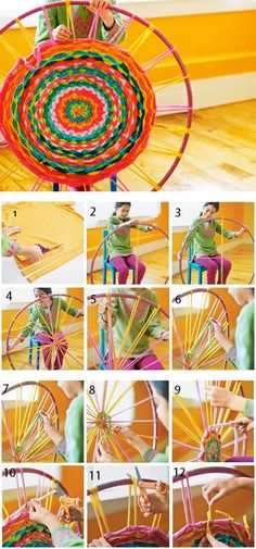 Hula Hoop Rug! DIY. (Do a larger rug by taking small tube PVC pipes and bending to the size circle u need. Duct tape usually holds well if you Do Not buy PVC that's too thick.