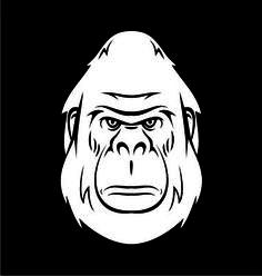 White Gorilla Head on VectorStock