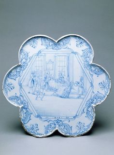Tea tray,  London, England (probably, made), 1743 (dated), Unknown (production), Tin-glazed earthenware, painted in cobalt blue