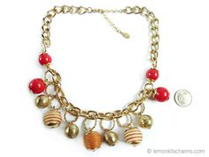 Vintage Robert Rose Baubles Charm Necklace Jewelry 1980s