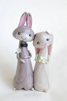 Kaninchen-Hochzeitstorte Topper von HeartmadeCottage auf Etsy