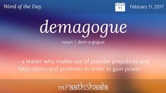 Definitions, Synonyms & Antonyms of demagogue – Word of the Day