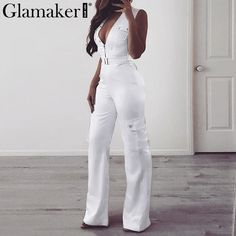 700f4865c47 Glamaker Satin silk pockets jumpsuit Women sash slim wide leg long playsuit  overalls Autumn winter party