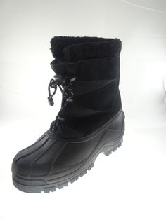 MENS WEATHERPROOF SHELL  LEATHER UPPER WATER PROOF SNOW BOOTS Black Size 7 M #Weatherproof #SnowWinter