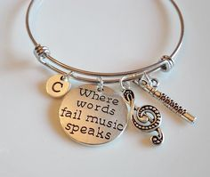 Where words fail music speaks Music Bangle by MemorableCharms