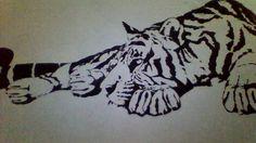 """Efekt świątecznej nudy/tygrys namalowany na ścianie, plakatówką *.* """"Strażnik pokoju"""""""