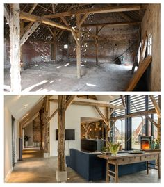 Before / After work of transformation of a barn into loft. Avant / Après travaux de la transformation d& grange en loft. Before / After work of transformation of a barn into loft. Barn House Conversion, Barn Conversion Interiors, Barn Renovation, Barn Living, Home Deco, Home Interior Design, Home Remodeling, Architecture Design, House Plans