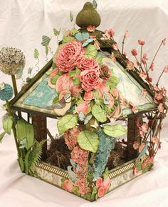 Arty-Forty: Botanical Tea Birdhouse  http://arty40.blogspot.co.uk/2014/04/botanical-tea-birdhouse.html