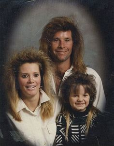 The strange part isn't the haircuts.  It's that the kid came out looking like that.  Never conceive a child at a Whitesnake concert.