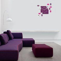 Nalepovacie nástenné hodiny s motívom puzzle - domtextilu. Sofa, Couch, Furniture, Home Decor, Settee, Settee, Decoration Home, Room Decor, Home Furnishings