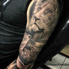 Julio_goncalves half sleeve tattoos family, family tattoos for men, arm tattoos for guys, Lion Head Tattoos, Bull Tattoos, Mens Lion Tattoo, Dad Tattoos, Animal Tattoos, Tattoos For Guys, Lion Tattoo Sleeves, Sleeve Tattoos, Family Sleeve Tattoo