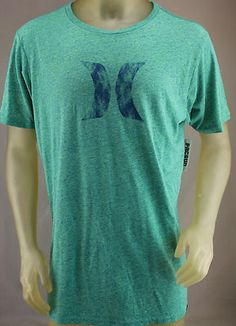 Hurley Premium Fit blue & green heather T-shirt with blue logo.