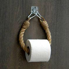 Toilet Paper Rope Holder..Industrial decor..Toilet Roll Holder..Jute Rope Nautical Decor..Bathroom decor..Towel Holder