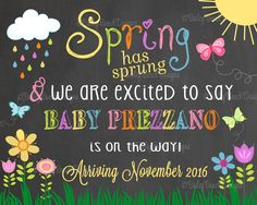 Spring Pregnancy Reveal Announcement Chalkboard Sign, Spring has spring Pregnancy SPRINGCHALK0520