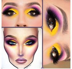 Yellow purple and black smokey eye makeup with face chart. Gorgeous going out… Yellow purple and black smokey eye makeup with face chart. Gorgeous going out… Black Smokey Eye Makeup, Yellow Eye Makeup, Purple Makeup, Purple Eyeshadow, Eye Makeup Tips, Mac Makeup, Natural Eye Makeup, Eyeshadow Makeup, Makeup Kit