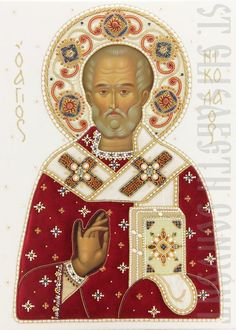 We offer a painted icon of St Nicholas the Wonderworker in a handmade oklad Painted with acrylic paints and consecrated in St Elisabeth Convent. Prayer Corner, Russian Icons, Painting Studio, Saint Nicholas, Gold Work, Orthodox Icons, Christian Art, Coat Of Arms