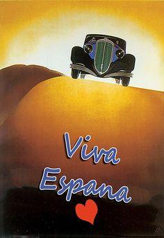 Viva España - #Spain - Spanish Car #Travel Vacation Holiday Art Poster #vintage #tourism