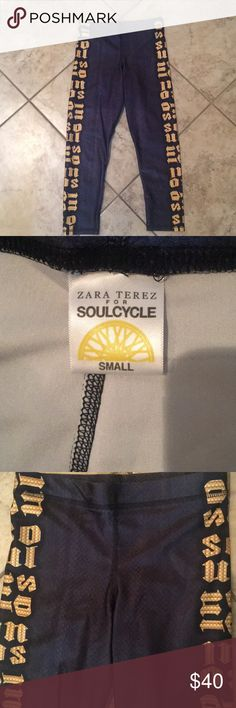 """Zara Terez for SoulCycle Leggings size S Zara Terez / SoulCycle Leggings in dark grey w/ Gold """"Soul"""" lettering on sides. Zara Terez Pants Leggings"""