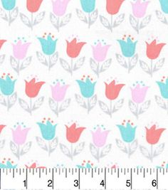 Nursery Cotton Fabric-Lilly Floral Wht