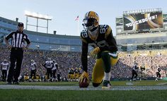 James Jones celebra su touchdown ante New Orleans Saints.