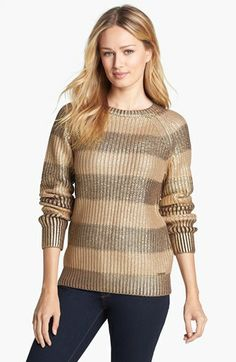 MICHAEL Michael Kors Stripe Foil Sweater (Save Now through 12/9) | Nordstrom