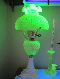 Fenton Vaseline Lamp Fenton Lamps, Fenton Glassware, Antique Glassware, Antique Lamps, Vintage Lamps, Antique Hurricane Lamps, Vaseline Glass, Carnival Glass, Oil Lamps