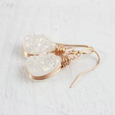 White Druzy Rose Gold Teardrop Earrings | Starletta Designs  gemstone earring, earring, wedding accessories, wedding earrings, gold earrings, wrapped earrings, druzy gemstone, birthstone, white, gemstone earring, gifts for her, wedding gifts, bridesmaid, bride, special occasion, anniversary gift, gifts for mom, gifts for daughter