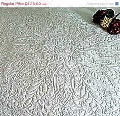 "Spring Madness Sale Heirloom White Wholecloth Bed Quilt Welsh Beauty 80""x100"""